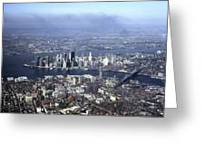 An Aerial View Of The Twin Towers Greeting Card by Rex A. Stucky