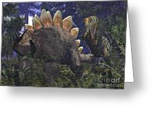 An Allosaurus Stumbles Upon A Grazing Greeting Card by Walter Myers
