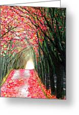 An Arch Made Of Red Maple Leaves Greeting Card by Marie-Line Vasseur
