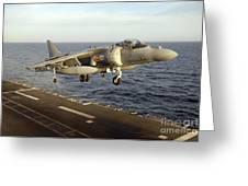 An Av-8b Harrier II Prepares To Land Greeting Card by Stocktrek Images
