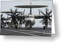 An E-2c Hawkeye Aircraft On The Flight Greeting Card by Stocktrek Images