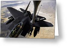 An F-15e Strike Eagle Aircraft Receives Greeting Card by Stocktrek Images
