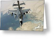An F-16 Fighting Falcon Refuels Greeting Card by Stocktrek Images