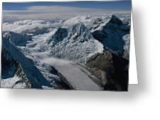 An Icy Ravine Between Glacial Peaks Greeting Card by Bobby Haas