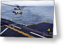 An Mh-53e Sea Dragon Prepares To Land Greeting Card by Stocktrek Images