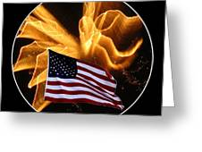Angel Fireworks and American Flag Greeting Card by Rose Santuci-Sofranko