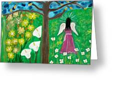 Angel In The Garden Greeting Card by Ana Julia Fishman