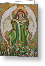 Angel In The Garden Greeting Card by Radha Flora Cloud