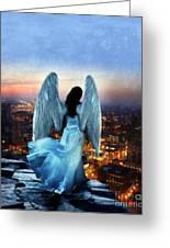 Angel On Rocky Ledge Above City At Night Greeting Card by Jill Battaglia