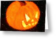 Angry Pumpkin Greeting Card by Richard De Wolfe