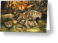 Animals United In Terror As They Flee From A Forest Fire Greeting Card by G W Backhouse