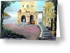 Antica Villa Sul Mare Greeting Card by Larry Cirigliano