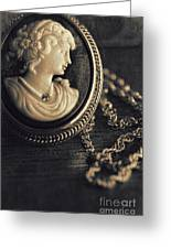 Antique Cameo Medallion On Wood Greeting Card by Sandra Cunningham