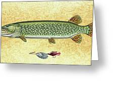 Antique Lure And Pike Greeting Card by JQ Licensing