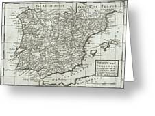 Antique Map Of Spain And Portugal Greeting Card by Hermann Moll