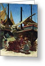 Anzio The Port Greeting Card by Antoine Auguste Ernest Hebert