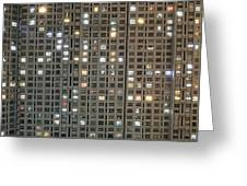 Apartment Block At Night, Typical Greeting Card by Axiom Photographic