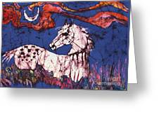 Appaloosa In Flower Field Greeting Card by Carol Law Conklin