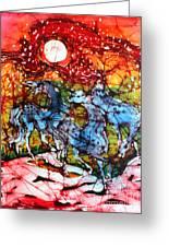 Appaloosas On A Fiery Night Greeting Card by Carol Law Conklin