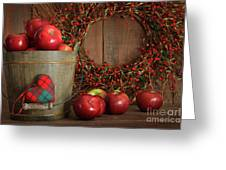 Apples In Wood Bucket For Holiday Baking Greeting Card by Sandra Cunningham