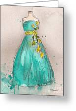 Aqua Dress Greeting Card by Lauren Maurer