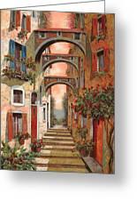 Archetti In Rosso Greeting Card by Guido Borelli