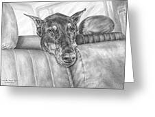 Are We There Yet - Doberman Pinscher Dog Print Greeting Card by Kelli Swan