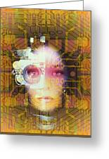 Artificial Intelligence: Face And Circuit Board Greeting Card by Mehau Kulyk