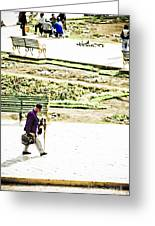 Artist In Purple Greeting Card by Darcy Michaelchuk