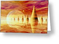 Artwork Of An Alien Landscape Greeting Card by Mehau Kulyk