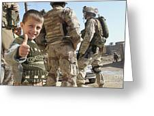 As A Father Is Questioned By Marines Greeting Card by Stocktrek Images