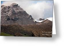 Ash And Gas Rising From Lava Dome Greeting Card by Richard Roscoe