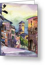 Assisi Street Scene Greeting Card by Lydia Irving