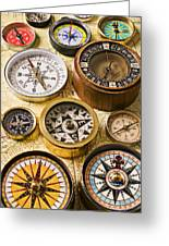 Assorted Compasses Greeting Card by Garry Gay