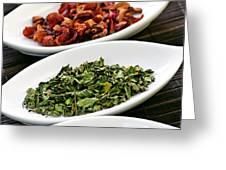 Assorted herbal wellness dry tea in bowls Greeting Card by Elena Elisseeva