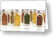 Assorted Spice Bottles Isolated On White Greeting Card by Sandra Cunningham