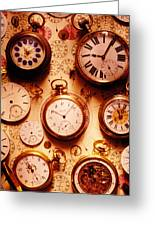 Assorted Watches On Time Chart Greeting Card by Garry Gay
