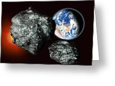 Asteroids Approaching Earth Greeting Card by Victor Habbick Visions