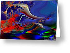 Astral Duck Greeting Card by Doris Wood