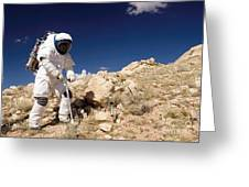 Astronaut Stands Beside A Core Sampling Greeting Card by Stocktrek Images