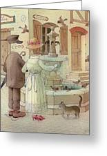 At The Fountain Greeting Card by Kestutis Kasparavicius