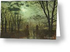 At The Park Gate Greeting Card by John Atkinson Grimshaw