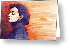 Audrey Hepburn 1 Greeting Card by Yuriy  Shevchuk