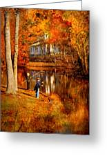 Autumn - People - Gone Fishing Greeting Card by Mike Savad