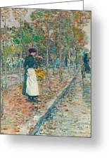 Autumn Boulevard In Paris Greeting Card by Childe Hassam
