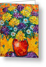 Autumn Flowers Gorgeous Mums - Original Oil Painting Greeting Card by Ana Maria Edulescu