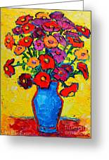Autumn Flowers Zinnias Original Oil Painting Greeting Card by Ana Maria Edulescu