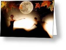 Autumn Moon Dance Greeting Card by Gun Legler