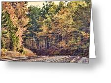 Autumn Railroad Greeting Card by Douglas Barnard