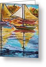 Autumn Sailboats Greeting Card by John  Williams